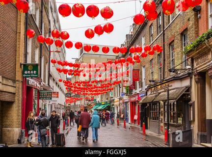 Lisle Street decorated for Chinese New Year in February 2016, Chinatown, Soho, London, England, UK - Stock Photo