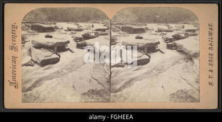 .. Rock Falls, Portage, above Lower Falls, from Robert N. Dennis collection of stereoscopic views - Stock Photo
