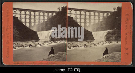 First Fall in Genesee River, and Portage R.R. Bridge, from Robert N. Dennis collection of stereoscopic views - Stock Photo
