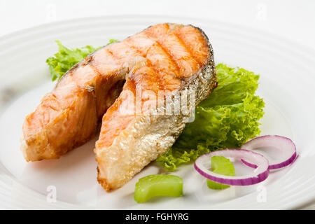 delicious grilled salmon steak - Stock Photo