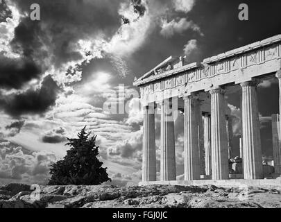 Athens - The Acropolis and beautiful cloudscape - Stock Photo