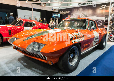 London, UK.  19 February 2016. A Chevrolet Corvette Stingray on display as visitors flock to The London Classic - Stock Photo
