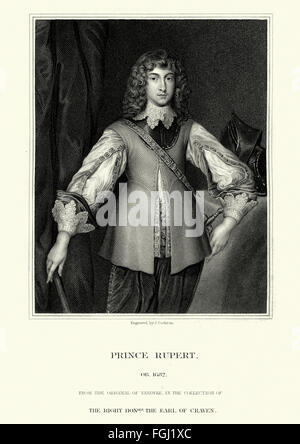 Portrait of Prince Rupert of the Rhine 1619 to 1682, a noted German soldier, admiral, scientist, sportsman, colonial - Stock Photo