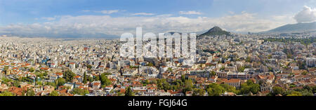 ATHENS, GREECE - OCTOBER 8, 2015: The panorama from Acropolis to Likavittos hill and the town. - Stock Photo