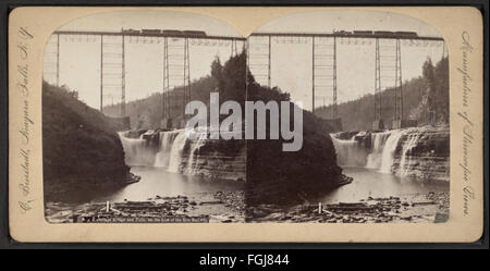 New Portage Bridge and Falls on the Line of the Erie Railway, by Bierstadt, Charles, 1819-1903 2 - Stock Photo