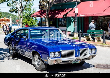 Classic Blue Oldsmobile in Bar Harbor, Maine - Stock Photo