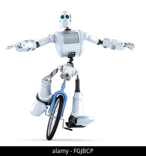 Robot riding unicycle. Technology concept. Isolated over white. Contains clipping path - Stock Photo