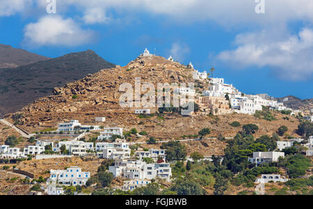 Chora - The hill with the chapels in Chora town on the Ios island in the Aegean Sea (Greece). - Stock Photo