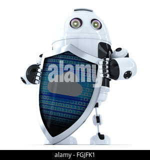 Robot with shield. Cloud Security Concept. Isolated over white. Contains clipping path - Stock Photo