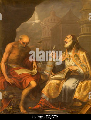 GRANADA, SPAIN - MAY 29, 2015: The paint of St. Jerome and St. Pope Gregory, by Juan de Sevilla Romero (1643 - 1695). - Stock Photo
