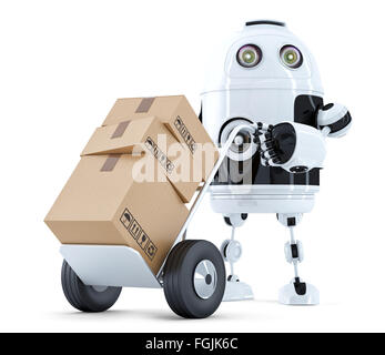Delivery Robot. Isolated over white. Contains clipping path - Stock Photo