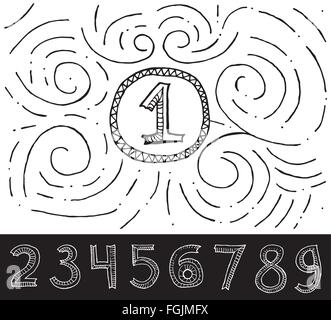 Hand Drawn Numbers with swirl pattern on white background. Vector Illustration. - Stock Photo