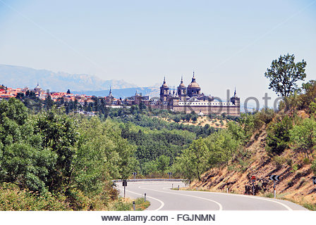 View of royal seat of san lorenzo de el escorial from the road. Unesco declared it as world heritage site. Community - Stock Photo