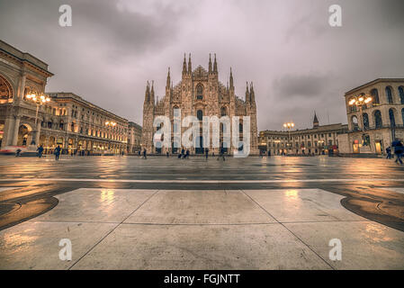 Milan, Italy: Piazza del Duomo, Cathedral Square - Stock Photo