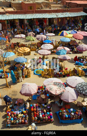 T Market Square in the Souk, Marrakesh . Morocco - Stock Photo