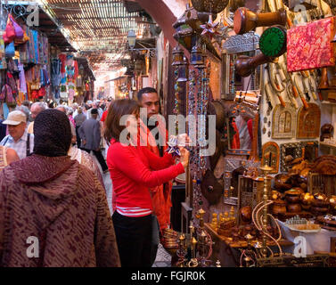 The Souk  Marrakech . Morocco - Stock Photo