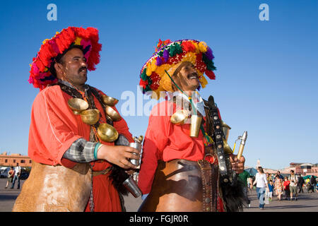 Traditional 'Water Sellers'   in Jemaa El Fna Square in Marrakech - Stock Photo