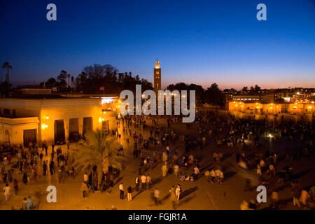 The La Koutoubia Mosque at sunset in Jemaa El Fna Square,  Marrakech . - Stock Photo