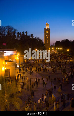 La Koutoubia Mosque at Jemaa El Fna Square in Marrakech at nightime. Morocco - Stock Photo