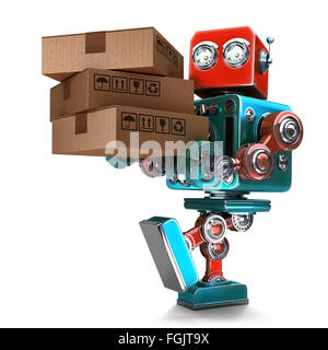 Delivery courier Robot delivering package. Isolated over white. Contains clipping path - Stock Photo