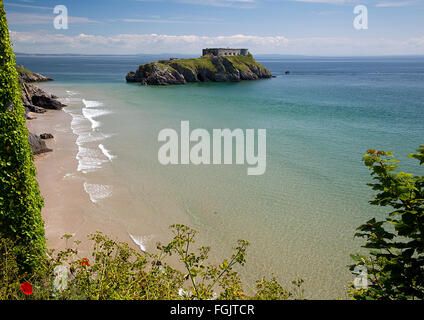 Saint Catherine's Fort on St Catherine's Island, South Beach, Tenby, Pembrokeshire, South Wales, UK - Stock Photo