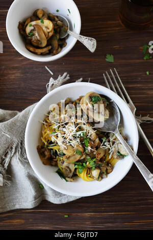 pasta in bowl with mushrooms, food - Stock Photo