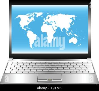 Vector image of laptop with world map on screen. - Stock Photo