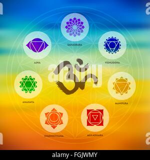 Chakra icons composition with om calligraphy and sacred geometry design on colorful blur background. EPS10 vector. - Stock Photo