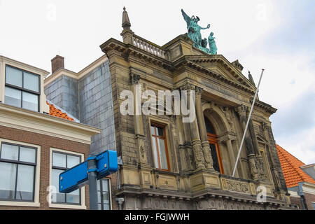 Facade of Teylers Museum of art, natural history and science in Haarlem, the Netherlands - Stock Photo