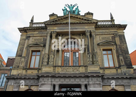 Facade of Teylers Museum of art, natural history and science in Haarlem, Netherlands - Stock Photo