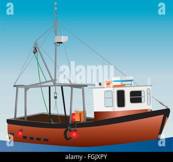 An detailed illustration of an Orange and White Inshore Fishing Boat with nets winches and life rafts and a blue - Stock Photo