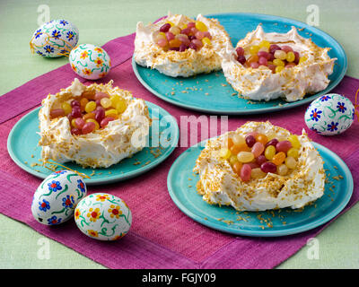 Coconut meringue nests - Stock Photo