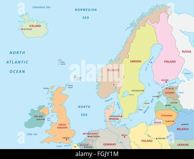 northern Europe map - Stock Photo