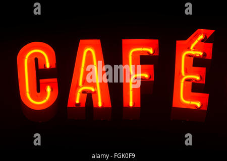 Cafe sign at a sidewalk cafe - Stock Photo
