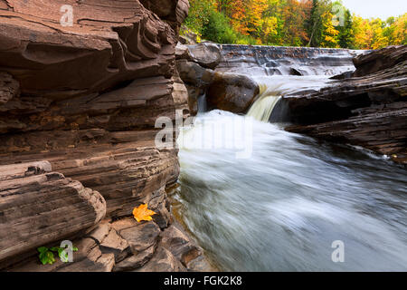 Bonanza Falls in Michigan's Upper Peninsula during the autumn season - Stock Photo