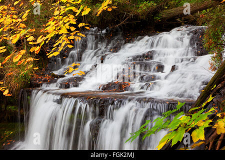 Wagner Falls in Munising Michigan is surrounded by Autumn foliage near Pictured Rocks National Lakeshore - Stock Photo