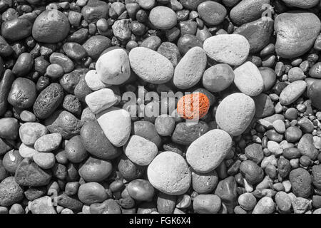 Santorini - The detail of pemza from Bleck beach with the white heart. - Stock Photo