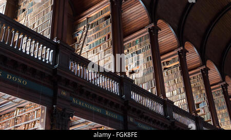 The Long Room library in the Trinity College. Trinity College Library is the largest library in Ireland - Stock Photo