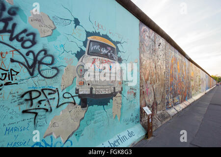 Fragment of the East Side Gallery. It's a 1.3 km long part of original Berlin Wall which collapsed in 198 - Stock Photo