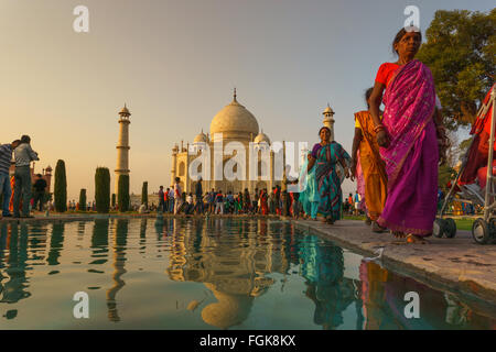 Taj Mahal, a mausoleum of white marble in Agra, India. - Stock Photo