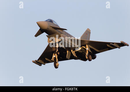 German Air Force Eurofighter Typhoon multirole fighter jet from Tactical Wing 31 landing on it - Stock Photo
