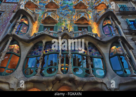 Gaudi project.The facade of the famous building Casa Battlo designed by Antonio Gaudi in Barcelona - Stock Photo