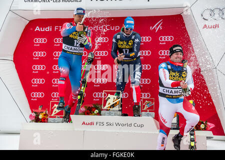 Chamonix, France. 20th February, 2016. L to R - Steven NYMAN, Dominik PARIS and Beat FEUZ celebrate their victories - Stock Photo