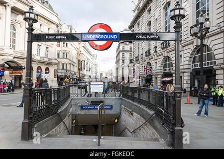 London, England, UK. Piccadilly Circus underground station - entrance - Stock Photo