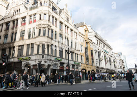 Exterior of a dilapidated London Trocadero on Coventry Street, Soho, London, UK - Stock Photo