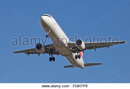 Swiss International Air Lines Airbus a321 HB-IOF coming into land at London Heathrow Airport LHR - Stock Photo