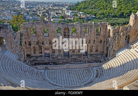 Athens - The Odeon of Herodes Atticus or Herodeon under The Acropolis in morning light. - Stock Photo