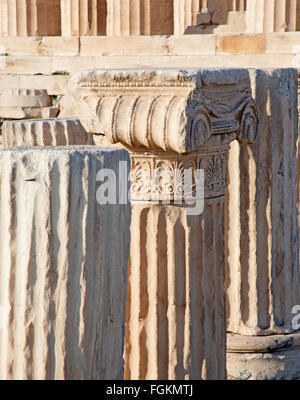Athens - The detail of Ionic capital on the Acropolis. - Stock Photo