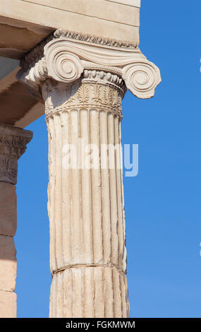 Athens - The detail of Ionic capital of Erechtheion on Acropolis in morning light. - Stock Photo