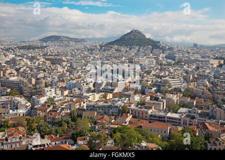 ATHENS, GREECE - OCTOBER 8, 2015: The look from Acropolis to Likavittos hill and the town. - Stock Photo